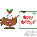 royalty free rf clipart illustration jolly christmas pudding cartoon character presenting a sign with a holly corner and text vector illustration isolated on white