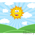 royalty free rf clipart illustration sunshine happy sun mascot cartoon character over landscape vector illustration with suburst background