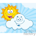 royalty free rf clipart illustration happy summer sun and smiling cloud mascot cartoon characters vector illustration with background