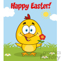 royalty free rf clipart illustration cute yellow chick cartoon character holding a flower and happy easter greeting vector illustration gif, png, jpg, eps, svg, pdf