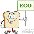 illustration smiling bread slice cartoon mascot character holding a sign with text eco vector illustration isolated on white background gif, png, jpg, eps, svg, pdf