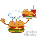 illustration chef burger cartoon mascot character holding a platter with burger, french fries and a soda vector illustration isolated on white background