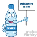 of a water plastic bottle mascot character holding up a sign with text drink more water vector illustration isolated on white background