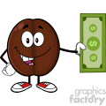 illustration coffee bean cartoon mascot character holding a dollar bill vector illustration isolated on white
