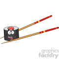 illustration happy sushi roll cartoon mascot character with chopsticks vector illustration isolated on white