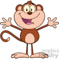 royalty free rf clipart illustration happy monkey cartoon character with open arms vector illustration isolated on white gif, png, jpg, eps, svg, pdf