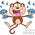 royalty free rf clipart illustration rich monkey cartoon character jumping with cash money and euro eyes vector illustration isolated on white