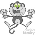 royalty free rf clipart illustration greedy monkey cartoon character jumping with cash money and dollar eyes in gray color vector illustration isolated on white