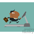 royalty free rf clipart illustration african american businessman cartoon character with briefcase running on a treadmill modern flat design vector illustration gif, png, jpg, eps, svg, pdf
