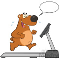 royalty free rf clipart illustration smiling brown bear cartoon character running on a treadmill with speech bubble vector illustration isolated on white