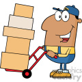 royalty free rf clipart illustration african american delivery man cartoon character using a dolly to move boxes vector illustration with isolated on white