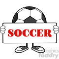 soccer ball faceless cartoon mascot character holding a sign vector illustration with text soccer isolated on white background gif, png, jpg, eps, svg, pdf