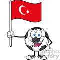 happy soccer ball cartoon mascot character holding a flag of turkey vector illustration isolated on white background