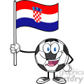 happy soccer ball cartoon mascot character holding a flag of croatia vector illustration isolated on white background gif, png, jpg, eps, svg, pdf