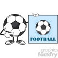 soccer ball faceless cartoon mascot character pointing to a sign with text football vector illustration isolated on white background gif, png, jpg, eps, svg, pdf