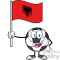 happy soccer ball cartoon mascot character holding a flag of albania vector illustration isolated on white background gif, png, jpg, eps, svg, pdf