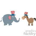 angry political elephant republican vs donkey democrat vector illustration flat design style isolated on white gif, png, jpg, eps, svg, pdf