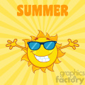smiling sun cartoon mascot character with sunglasses and open arms vector illustration with background and text summer
