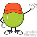 tennis ball faceless cartoon character with hat waving vector illustration isolated on white background gif, png, jpg, eps, svg, pdf