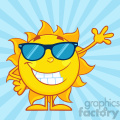 smiling sun cartoon mascot character with sunglasses waving for greeting vector illustration in blue background