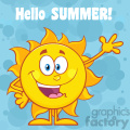 10108 happy sun cartoon mascot character waving for greeting with text hello summer vector illustration with blue background