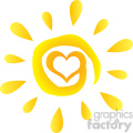 abstract sun with heart simple design with gradient vector illustration isolated on white background