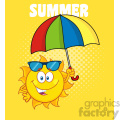 cute sun cartoon mascot character holding a umbrella vector illustration with yellow halftone background and text summer