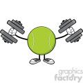 tennis ball faceless cartoon mascot character working out with dumbbells vector illustration isolated on white background