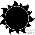 black silhouette sun vector illustration isolated on white background
