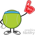 tennis ball faceless cartoon mascot character wearing a foam finger vector illustration isolated on white background gif, png, jpg, eps, svg, pdf