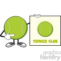 tennis ball faceless cartoon mascot character pointing to a sign tennis club vector illustration isolated on white background gif, png, jpg, eps, svg, pdf