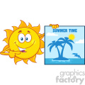 talking sun cartoon mascot character pointing to a poster sign with tropical island and text summer time vector illustration isolated on white background