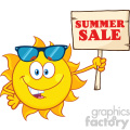 summer sun cartoon mascot character with sunglasses holding a wooden sign with text summer sale vector illustration isolated on white background