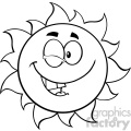 black and white winking sun cartoon mascot character vector illustration isolated on white background