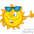 smiling sun cartoon mascot character with sunglasses giving the thumbs up vector illustration isolated on white background