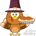 cute pilgrim turkey bird cartoon character holding a pie vector illustration isolated on white