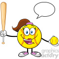 talking softball girl cartoon character holding a bat and ball with speech bubble vector illustration isolated on white background gif, png, jpg, eps, svg, pdf
