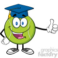 happy tennis ball cartoon mascot character with graduate cap giving a thumb up vector illustration isolated on white