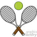crossed racket and tennis ball vector illustration isolated on white