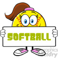 cute softall girl cartoon mascot character holding a sign vector illustration with text softball isolated on white background gif, png, jpg, eps, svg, pdf