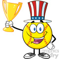 happy softball cartoon character with patriotic hat holding a trophy cup vector illustration isolated on white background gif, png, jpg, eps, svg, pdf
