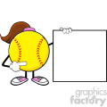 softball girl faceless cartoon mascot character pointing to a banner blank sign vector illustration isolated on white background gif, png, jpg, eps, svg, pdf