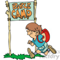 Little boy runnig to bible camp