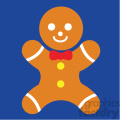 gingerbread man on blue square icon vector art
