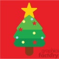 christmas tree on a red square icon vector art