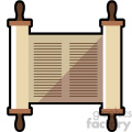 jewish torah scroll flat vector art icon no background