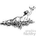 psyche reclining dove vintage 1900 vector art GF