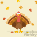 Thanksgiving Turkey Bird Cartoon Mascot Character Vector Flat Design Over Background With Autumn Leaves