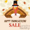 10599 Happy Thanksgiving Turkey Bird Cartoon Mascot Character Holding A Happy Thanksgiving Sale Sign Vector Flat Design Over Background With Autumn Leaves