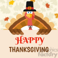 happy pilgrim thanksgiving turkey bird cartoon mascot character holding a happy thanksgiving sign vector flat design over background with autumn leaves gif, png, jpg, eps, svg, pdf
